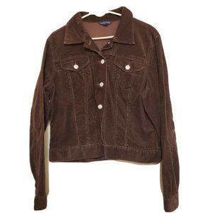 Lands End Size 10 12 Brown Corduroy Jacket Fall